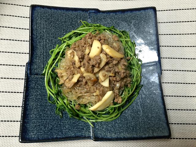 豆苗と春雨の炒め物2